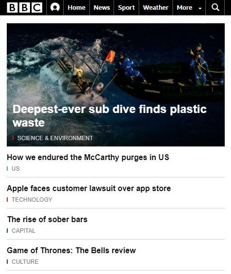Layout Responsivo site BBC