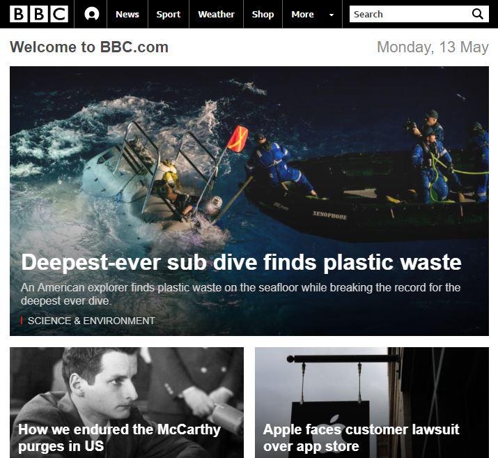 Layout responsivo BBC